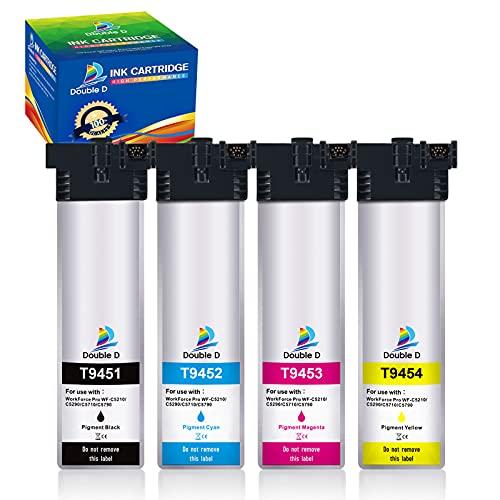 DOUBLE D T9451-T9454 - Cartuchos de tinta compatibles con Epson T9451 T9452 T9453 T9454 para Epson Workforce Pro WF-C5710DWF WF-C5790DWF WF-C5210DW WF-C5290DW, WF-C5710 WF-C5790 WF-C5790 WF-C5790
