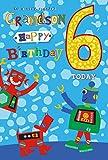 Tarjeta de felicitación de cumpleaños con diseño de robots y perros para un nieto muy especial