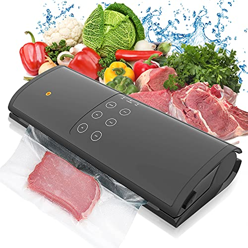 Flyzy Vacuum Sealer Machine for Food Savers, Vacuum Packing Machine Easy to Clean   Dry & Moist Food Modes   Starter Kit   Led Indicator Lights (Black)