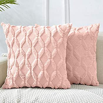 LHKIS Throw Pillow Covers 16x16 Light Pink Decorative Boho Pillow Case Cushion Cover with Velvet Luxury Soft Plush Short Wool for Couch Sofa Bedroom Car Set of 2
