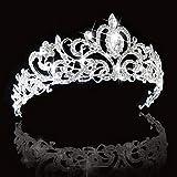 SNOWH Crystal Crowns and Tiaras Princess Wedding Crown Rhinestone Birthday Tiara Pageant Headband Bridal Hair Headpieces for Women and Girls Silver