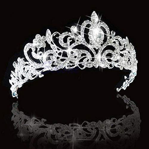 SNOWH Crystal Crowns and Tiaras Princess Wedding Crown Rhinestone Birthday Tiara Pageant Headband Bridal Hair Headpieces for Women and Girls Silver