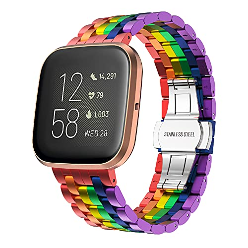 last chance order the fitbit versa 3 in time for christmas GELISHI Metal Band Compatible with Fitbit Versa/Versa 2 Bands Women Men Colorful Aluminum Metal Band Adjustable Replacement Wristband for Fitbit Versa Lite Smartwatch, Rainbow