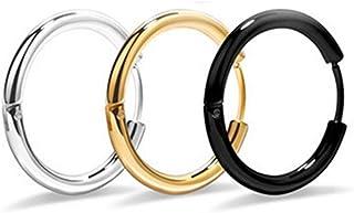 اقراط حلقية للرجال، مجوهرات ثقب الاذن هوغي، اقراط حلقية دائرية من فولاذ التيتانيوم للنساء، صغيرة سوداء وذهبية وفضية، 10 مل...