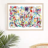 Yooyu Wall Art Painting Otomi Indian Folk Art Canvas Poster Nursery Print Mexico Decoration Picture Home Decor Traveler Gift 50x70cm Frameless