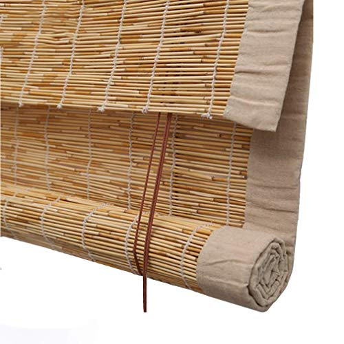 YANJ Sunshade Reed Curtain,Bamboo Shades for Windows,Retro Straw Blinds,Rain-Resistant/Light Filtering Shutters for Outdoor/Patio/Door,Custom Blinds (Size : 110x180cm/43x71in)