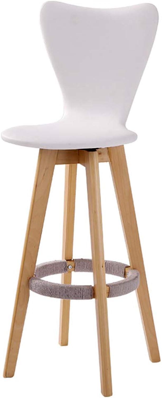 Bar Chair Stylish Wooden bar Chair Personalized high Chair high Stool Home redary bar Chair bar Chair Front bar Stool 360° redation (color   White)