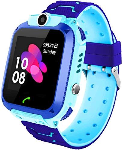 Reloj inteligente para niños, reloj digital inteligente para niños, GPS, reloj para llamadas y teléfono, resistente al agua, reloj de teléfono alemán para niños (Q12 GPS Blue)