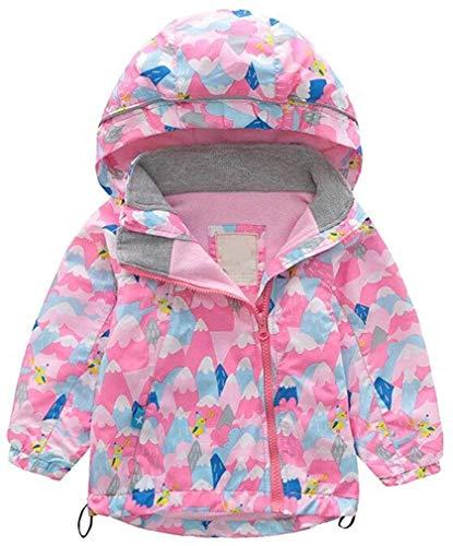 Kinderen waterdichte jas Mooie Cartoon waterdicht Coat Boys and Girls regenjas met capuchon Windbreaker Waterproof 1-8 Y (Color : Pink Wave, Size : 140/6-8Y)