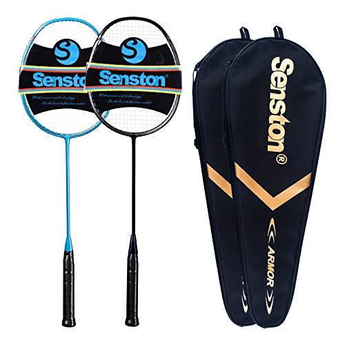 Senston N80 - 2 Pack Graphite High-Grade Badminton Racquet, Professional Carbon Fiber Badminton Racket Included Black Blue Color Rackets 2...
