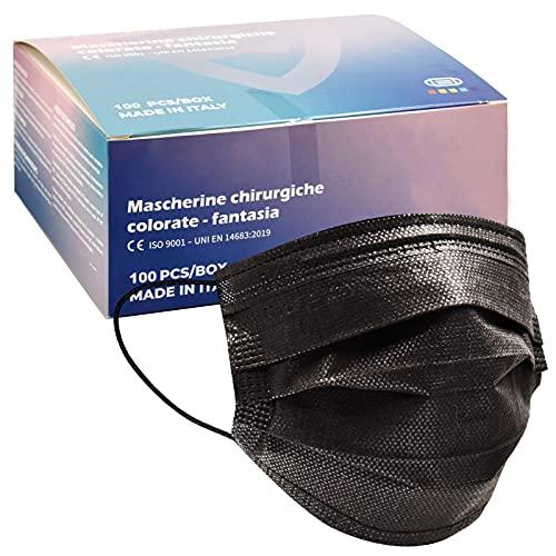 100 Stück OP Masken schwarz CE zertifiziert Typ IIR BFE≥98%,MADE IN EU,medizinischer Masken Mundschutz schwarz, flitereffiziente Einwegmasken,3-lagige atmungsaktive Maske mit Vliesstoffen