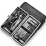 WYFC Conjunto de manicura -19 PCS Kit de manicura Kit de Clavos de uñas Set de Acero Inoxidable Pedicura Herramientas Kit portátil Kit de Aseo para Adultos (Color : Black)