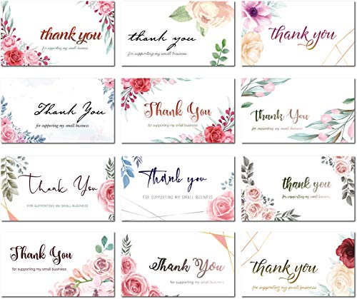 Mienno 240 Pack Thank You For Supporting My Small Business Cards, 2x3.5 inch Thank You Cards For Small Businesses, 12 Unique Designs, Customer Appreciation Cards (Floral)