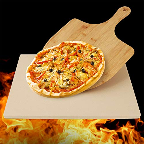 Henkelion Rectangular Pizza Stone for Oven with Pizza Peel, Large Square Grill Stone for Pizza Pan Grill BBQ with Pizza Paddle Spatula, Pizza Grilling Stones Baking Stone - Rectangular 12x15 Inches