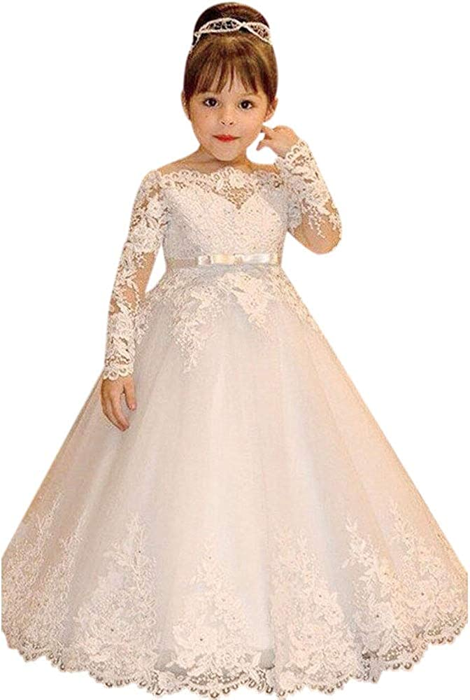 QueenBridal Kids Pageant Dress Long Sleeves Flower Girl Dresses Lace Princess Wedding Ball Gown QU115