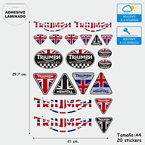 Aufkleber aus Vinyl, kompatibel mit Triumph Motorcycles Digitaldruck, laminiert, gegen UV-Strahlung und Kratzer, Blatt A 4 (20 Stickers)