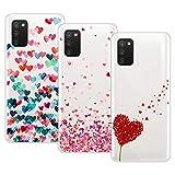 Young & Min Funda para Samsung Galaxy A02s/Galaxy M02s, (3 Pack) Transparente TPU Carcasa Delgado Anti-Choques con Dibujo de Corazón