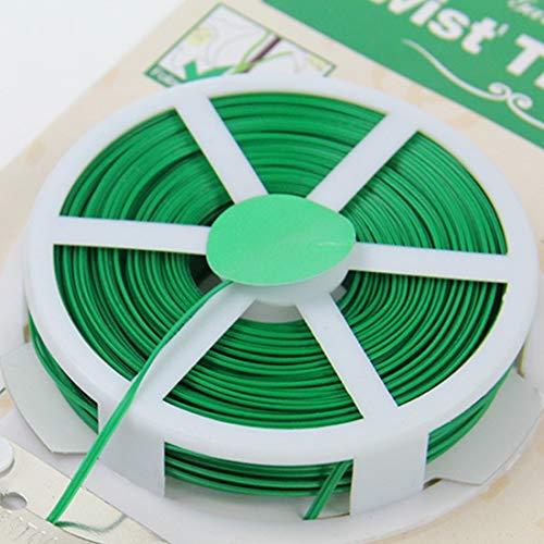Fenghezhanouzhou Accessoires de Jardinage Ensemble d'outils en Plastique Fleur Cravate en Bois Ligne Twist Tie Reel Plant Tie-Line Bobine avec Un Cutter 50m