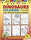 Dinosaur Coloring Page - Tyrex, Triceratops, Diplodocus, Stegosaurus: Book of 30 Drawings of Dinosaurs to Color and Cut out - Gift for kids ages 4-8