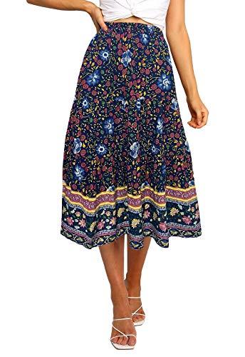 MEROKEETY Womens Elastic High Waist Leopard Print Polka Dot A-Line Swing Midi Skirt (03-Navy, Medium)