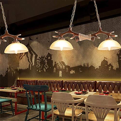 LED-lamp plafond hangend hertshoorn hanger kroonluchter lamp dining bar jaargang gewei hars dubbel licht