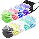 HIWUP 100Pcs Ten Colors Disposable Face Masks Soft Skin Box Face Mask Suitable for Adults and Teens 3 Layer Adjustble Multicolored