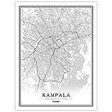 SONG Leinwand Bilder Stadtplan, Kampala Uganda Nordisches