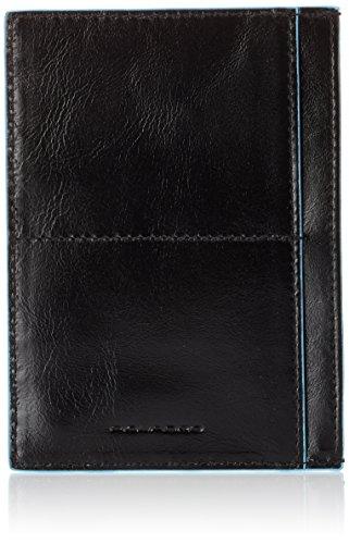 Piquadro Bustina Collezione Blue Square Porta carte di credito, Pelle, Nero, 12 cm