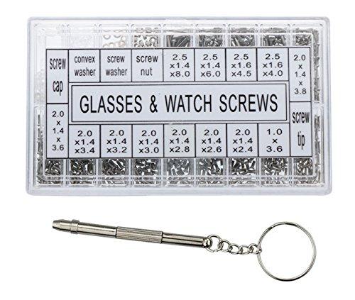Vapker Reparaturelemente für Brillen, Sonnenbrillen, Schraubwerkzeug-Set zur Reparatur von Armbanduhren mit Schraubenzieher aus Edelstahl, 1000 Stück