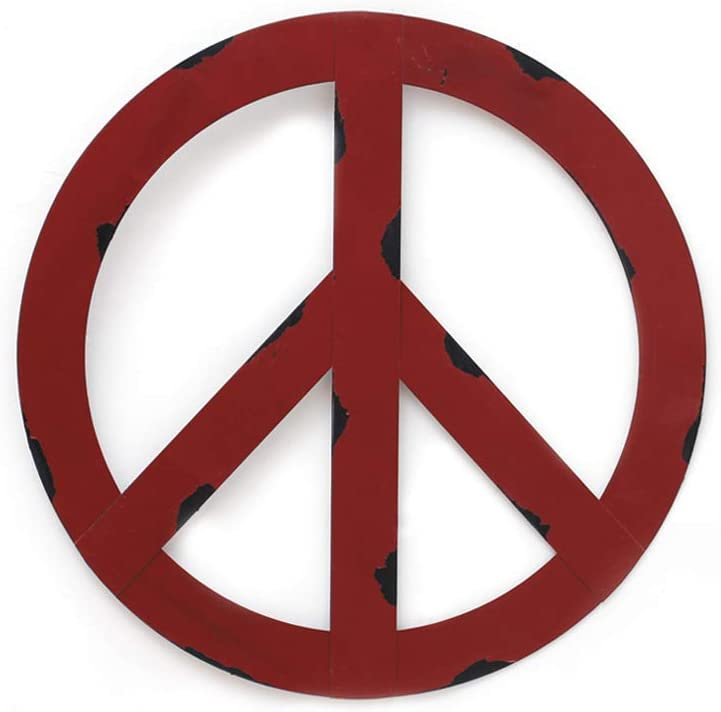 YK Decor Metal Treasured Red Peace Sign Wall Hanging Ornament Ho