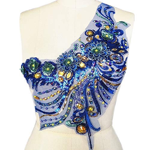 3D Lace Applique Beaded Embroidered Floral Rhinestones Trim Patches Great for Bodice Wedding Bridal Prom Dress DIY Accessories (Blue)
