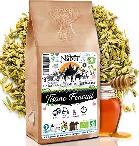 Nabür - Tisane Fenouil Bio 250gr ⭐ Tisane Allaitement Graine de Fenouil ⭐ Tisane Lactation, Tisane Galactogène ⭐ Digestion, Transit ⭐ Favorise la lactation de la Super-Maman