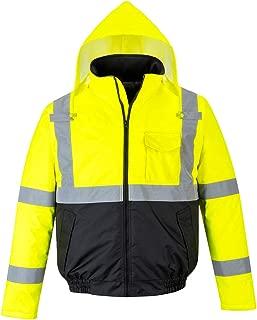 Portwest Hi-Vis Two-Tone Bomber Jacket Viz Insulated Safety Visability Work Wear Rain ANSI 3