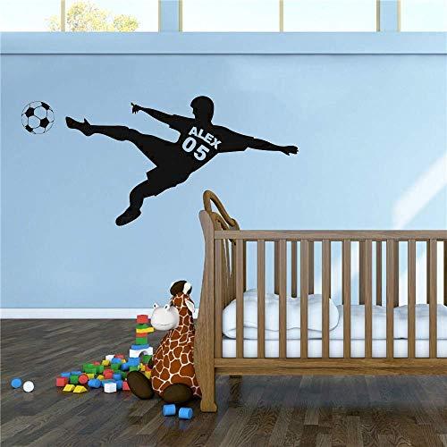 Personalizzato Calcio Ragazzo Nome Wall Sticker Calcio Pad Adesivo Decalcomania Calcio Sport Club Decorazione Casa Art57X32Cm