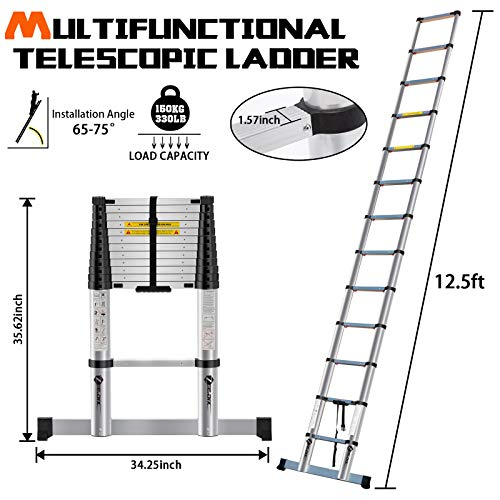 ZeeDix 12.5 FT Multi-Purpose Aluminum Telescoping Ladder- Upgrade One Button Retraction Safety Home Foldable Durable Stair for RV, Truck, Trailer, Ceiling, Roof Working, 330 lbs Capacity
