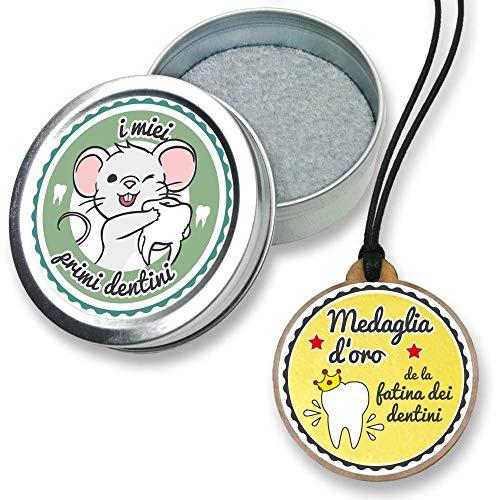 Fans & Friends - Caja con medalla para dientes de leche, para niños y niñas, caja de regalo, caja para guardar los dientes petróleo