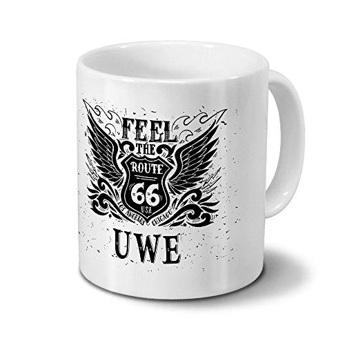Tasse mit Namen Uwe - Motiv Route 66 - Namenstasse, Kaffeebecher, Mug, Becher, Kaffeetasse - Farbe Weiß