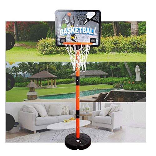 Mnjin Aro de Baloncesto Ajustable de 100-170 cm al Aire Libre, Soporte de Baloncesto de puntuación electrónica, Juguete de Tiro de Canasta de Hierro Actividades de Interior con Luces y Sonido Sist