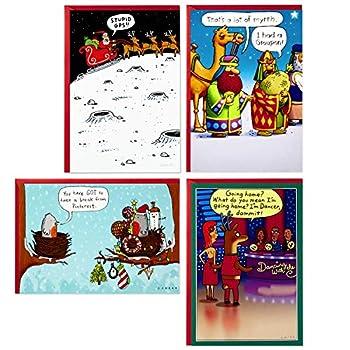 Hallmark Shoebox Funny Boxed Christmas Cards Assortment Cartoons  4 Designs 24 Christmas Cards with Envelopes