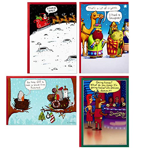 Hallmark Shoebox Funny Boxed Christmas Cards Assortment, Cartoons (4 Designs, 24 Christmas Cards with Envelopes)