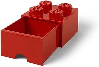 LEGO Brick Drawer, 4 Knobs, 1 Drawer, Stackable Storage Box, Bright Red