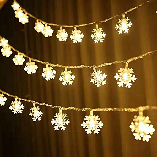 Luces de cadena LED guirnalda de copo de nieve de Navidad luces de cuento de hadas de vacaciones luces de cadena decorativas usb 10m100 leds