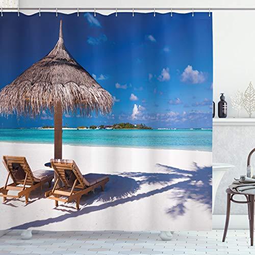 Paisaje cortina de ducha por Ambesonne, isla Caribe playa mar océano Print diseño de luna de miel, cuarto de baño Set de decoración de tela con ganchos, 70cm, luz blanca, color marrón y turquesa