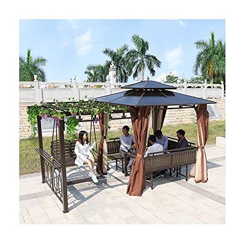 Home Equipment Gazebo permanente para patio Césped Gazebos para patios Pabellón al aire libre Patio Jardín Toldo Villa Jardín Gazebo Estante para uvas con escritorio y silla columpio Juego de muebl