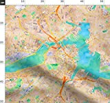 Wasserfarben, Boston, Landkarte, Massachusetts Stoffe -