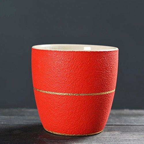 2 PCS Matte Modèles Tasse Céramique Boisson Tasse Handy Tasse Tasse d'eau Café Tasse Lait Tasse Petit Déjeuner Tasse Coupe Couples Coupe Bureau Chambre Maison Rouge UOMUN (Color : 200ML)