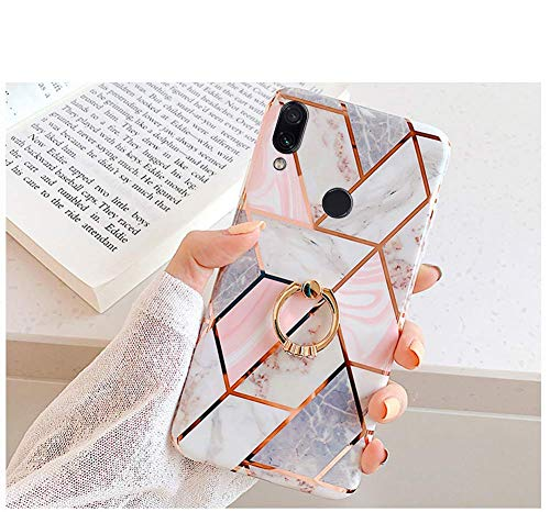 Exclusively designed Compatible With Xiaomi Redmi Note 7 Girl Women Geometric Marble Pattern IMD Shockproof Clear Bumper Glossy Slim TPU Silicone Back Cover Case with Diamond Ring Holder Stand [Flexible TPU]: Soft TPU makes installing and removing th...