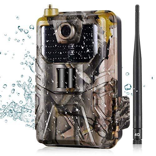 DIYARTS 16MP 4G Jagdkamera IP65 Wasserdicht 8 Megapixel Farb-CMOS mit SMS-Fernbedienung 960nm Fotofallen 0,3 s MMS/SMS/SMTP/FTP Hinterkamera Visition Wildkamera