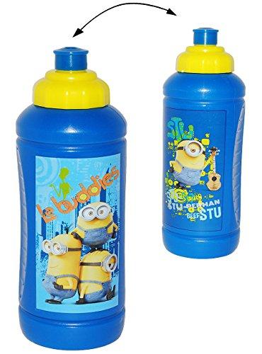 """Minions """" Ich einfach unverbesserlich """" - Trinkflasche / Flasche für 500 ml - leichter Kunststoff / Plastik - für Mädchen & Jungen - Kinder - Minion Stuart Tom Steve Mark - auslaufsicher / Fahrradflasche"""