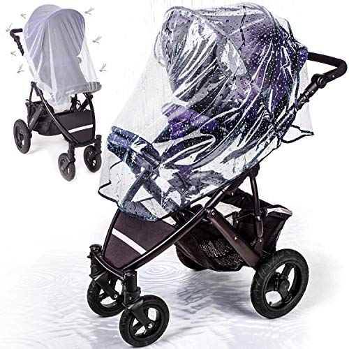 Stroller Rain Cover with Mosquito Net - Protects Babies from Sun, Wind, Rain, Snow, Dust - Breathable Bug Shield for Baby Stroller and Crib with Ventilation Lids